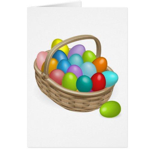 Ejemplo de la cesta de los huevos de Pascua Felicitaciones