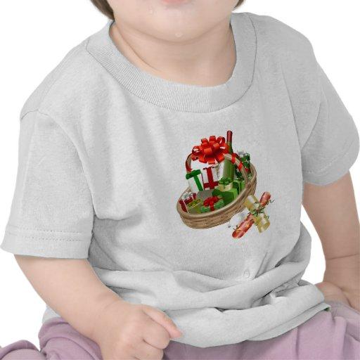 Ejemplo de la cesta del navidad camiseta