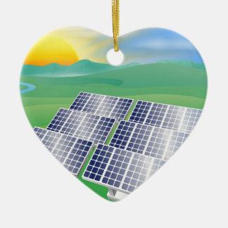 Ejemplo de la energía de la energía solar adorno navideño de cerámica en forma de corazón