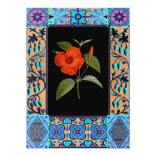 Ejemplo de la flor del vintage invitación 13,9 x 19,0 cm