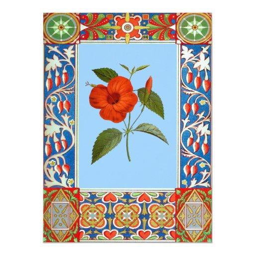"""Ejemplo de la flor del vintage invitación 5.5"""" x 7.5"""""""