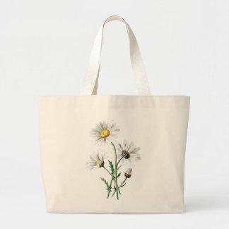 Ejemplo de la flor salvaje de las margaritas del v bolsa tela grande