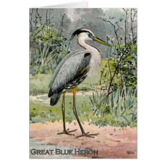 Ejemplo de la garza de gran azul (titulado) tarjeta de felicitación