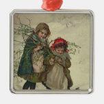 Ejemplo de la hada del árbol de navidad, pub. 1886 adorno navideño cuadrado de metal
