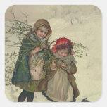 Ejemplo de la hada del árbol de navidad, pub. 1886 pegatina cuadrada