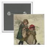 Ejemplo de la hada del árbol de navidad, pub. 1886 pin cuadrado