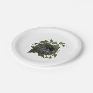 Ejemplo de la jerarquía del pájaro del vintage plato de papel de 7 pulgadas