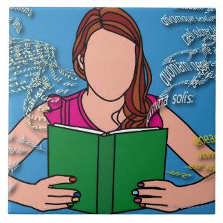 Ejemplo de la lectura de la mujer azulejo cuadrado grande