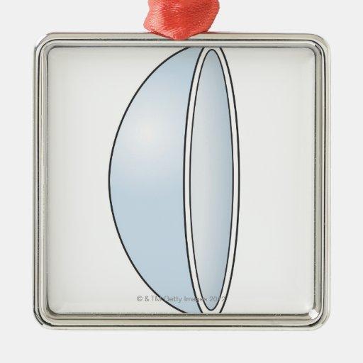 Ejemplo de la lente de contacto suave adorno navideño cuadrado de metal