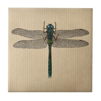 Ejemplo de la libélula del vintage azulejo cuadrado pequeño