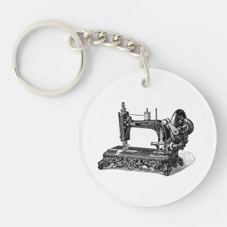 Ejemplo de la máquina de coser de los 1800s del llavero redondo acrílico a doble cara