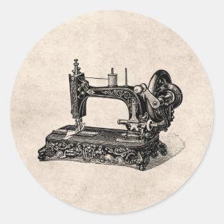 Ejemplo de la máquina de coser de los 1800s del pegatina redonda