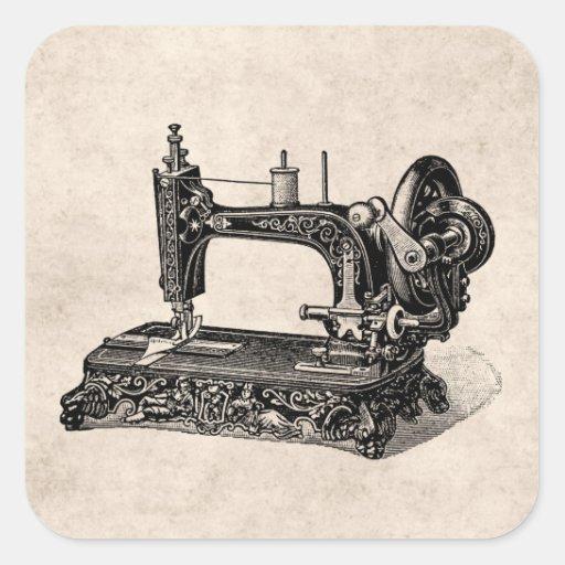 Ejemplo de la máquina de coser de los 1800s del vi calcomanía cuadradas personalizadas