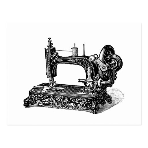 Ejemplo de la máquina de coser de los 1800s del vi tarjetas postales