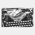 Ejemplo de la máquina de escribir del vintage rectangular pegatinas