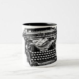 Ejemplo de la máquina de escribir del vintage taza de dos tonos
