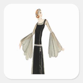 ejemplo de la moda de las señoras de los años 20 calcomanía cuadrada personalizada