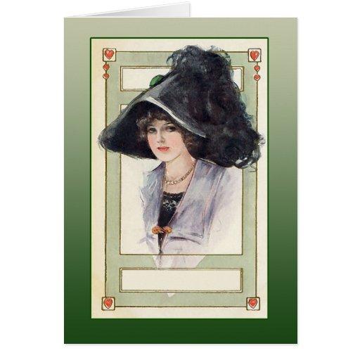 Ejemplo de la moda del vintage con el gorra negro tarjeta de felicitación