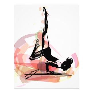 Ejemplo de la mujer del bosquejo de la yoga membrete personalizado