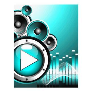 ejemplo de la música con el botón de reproducción membretes personalizados