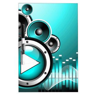 ejemplo de la música con el botón de reproducción tableros blancos