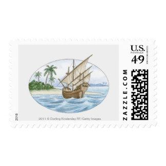 Ejemplo de la nave del siglo XVI cerca de la isla
