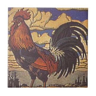 Ejemplo de la pintura del pollo del gallo de la gr azulejo cuadrado pequeño