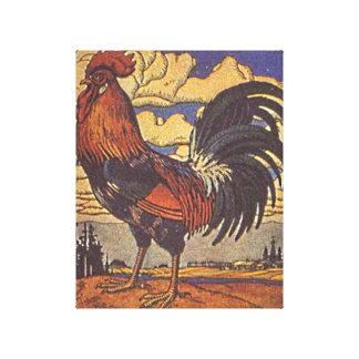 Ejemplo de la pintura del pollo del gallo de la impresión en lienzo