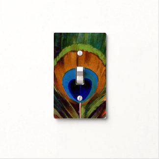 Ejemplo de la pluma del pavo real cubiertas para interruptor