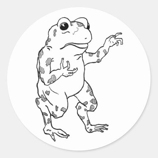 Ejemplo de la rana mugidora del vintage etiqueta redonda