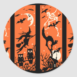 Ejemplo de la silueta de Halloween del vintage Pegatinas Redondas