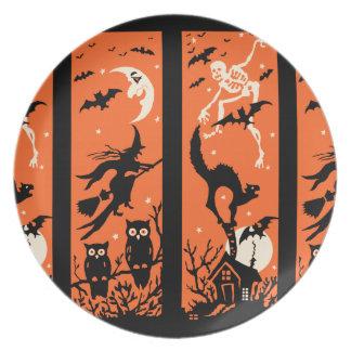Ejemplo de la silueta de Halloween del vintage Plato Para Fiesta