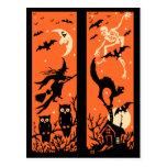 Ejemplo de la silueta de Halloween del vintage Postales