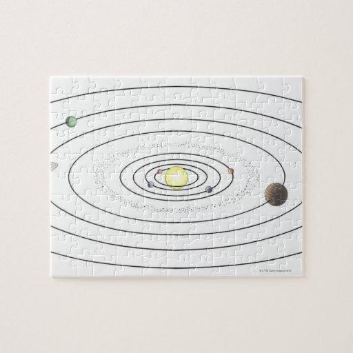 Ejemplo de la Sistema Solar que muestra los planet Puzzles