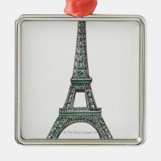 Ejemplo de la torre Eiffel Adorno Cuadrado Plateado