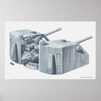 Ejemplo de la torrecilla de arma en un acorazado W Poster