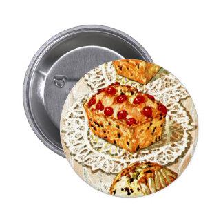 Ejemplo de la torta de la fruta del vintage pin redondo de 2 pulgadas