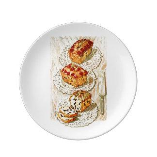 Ejemplo de la torta de la fruta del vintage plato de cerámica
