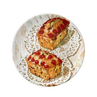 Ejemplo de la torta de la fruta del vintage platos de cerámica