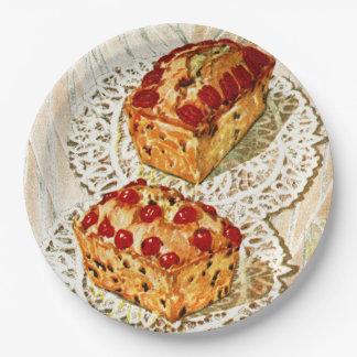 Ejemplo de la torta de la fruta del vintage platos de papel