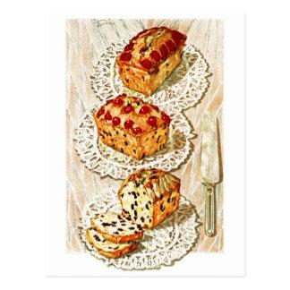 Ejemplo de la torta de la fruta del vintage tarjeta postal