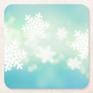 Ejemplo de la trama de copos de nieve que brillan posavasos de cartón cuadrado