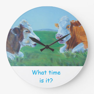 Ejemplo de la vaca - charla de dos vacas reloj redondo grande