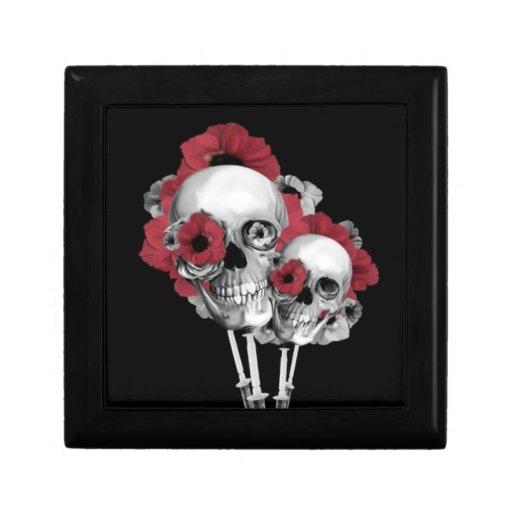 Ejemplo de las amapolas del cráneo joyero cuadrado pequeño