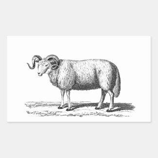 Ejemplo de las ovejas nacionales del vintage - pegatina rectangular