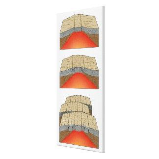 Ejemplo de las placas oceánicas que separan y impresión en tela