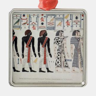 Ejemplo de las tumbas de los reyes en adorno navideño cuadrado de metal