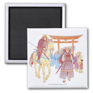 Ejemplo de llevar japonés del samurai imán cuadrado