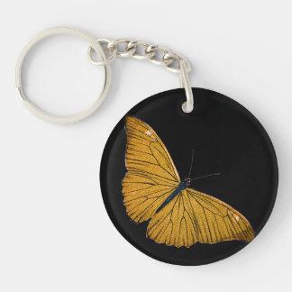 Ejemplo de los 1800s de la mariposa del oro llavero redondo acrílico a una cara