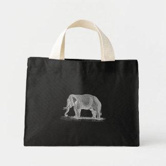 Ejemplo de los 1800s del vintage del elefante blan bolsa de tela pequeña